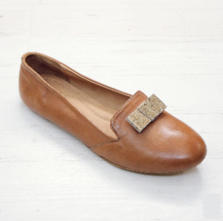 Sseko Designs:<br>Gold Flat Bow Accent Leather Loafer<br>Caramel
