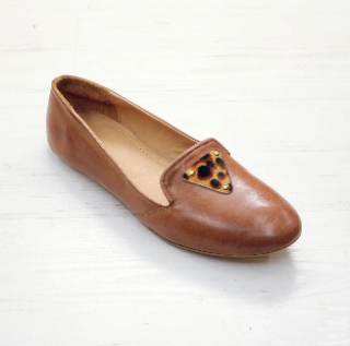 Sseko Designs:<br>Leopard Accent Leather Loafer<br>Caramel