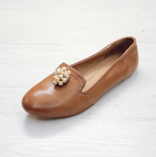 Sseko Designs:<br>Pearl Accent Leather Loafer<br>Caramel
