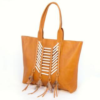 Sseko Designs:<br>Tailwind in Caramel Accent Tote
