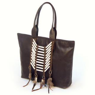 Sseko Designs:<br>Tailwind in Espresso Brown Accent Tote