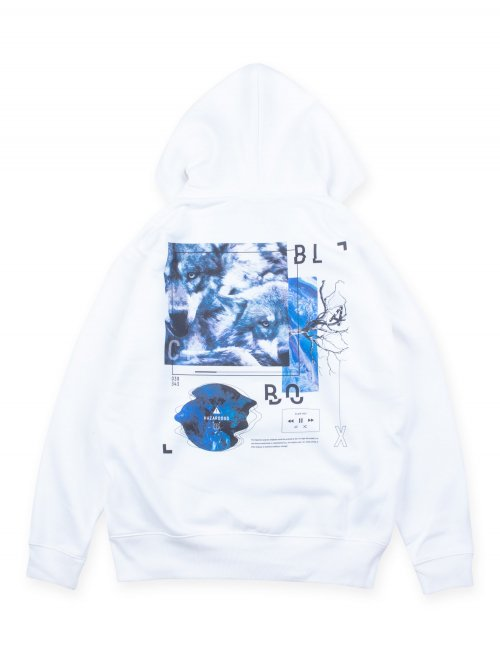 BLACK BOX ZIP HOODIE【WHITE】