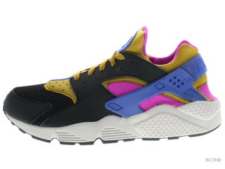【US10】NIKE AIR HUARACHE 318429-011 black/brnzn-fchs flsh-gm ryl