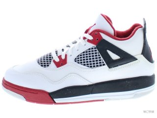 【21cm】AIR JORDAN 4 RETRO (PS) 308499-110 white/varsity red-black