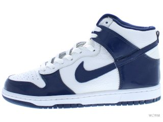 【US8】NIKE DUNK HIGH 304093-141 white/midnight navy