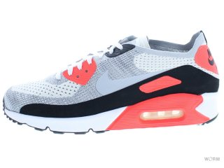【US10.5】NIKE AIR MAX 90 ULTRA 2.0 FLYKNIT 875943-100 white/wolf grey-bright crimson