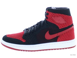 【US6.5Y】AIR JORDAN 1 RET HI FLYKNIT BG 919702-001 black/varsity red-white