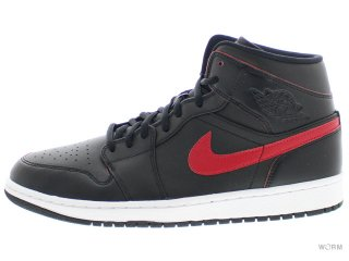【US10.5】AIR JORDAN 1 MID 554724-009 black/team red-team red-white