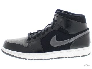 【US9.5】AIR JORDAN 1 MID PREM 852542-001 black/gym red-dark grey-white