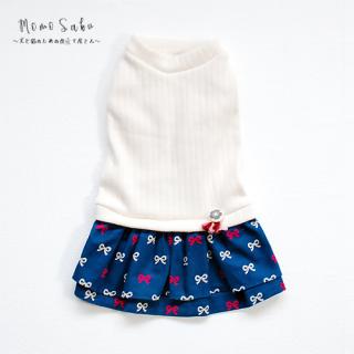 Dog ワンピース~Knit Ribbon-navy~
