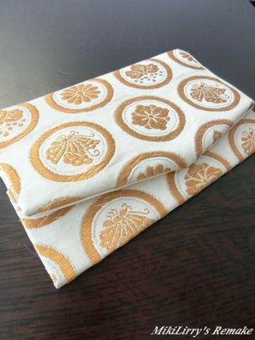 帯リメイク✿渋さのある白地に紋模様がはいった名古屋帯の袱紗