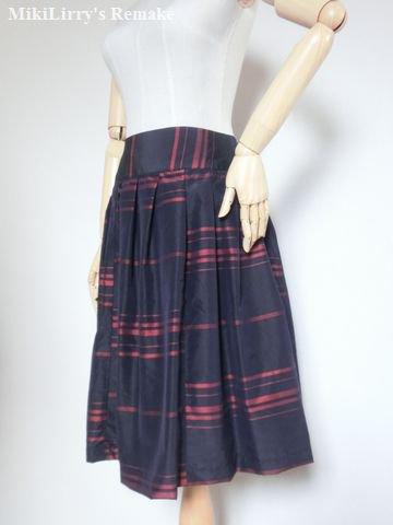 着物リメイク✿ポリエステルの着物に縞模様がはいったヨークプリーツスカート