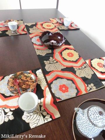 帯リメイク✿華文や古紋の文様がはいったテーブルセンターとランチマット5枚のセット