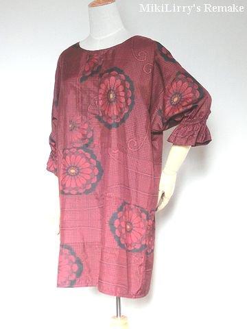 着物リメイク✿黒地に紅色の花柄がはいった大島紬のチュニックワンピース(再入荷)