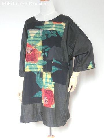 着物リメイク✿男着物に大きな花柄がはいった羽織をパッチしたチュニック
