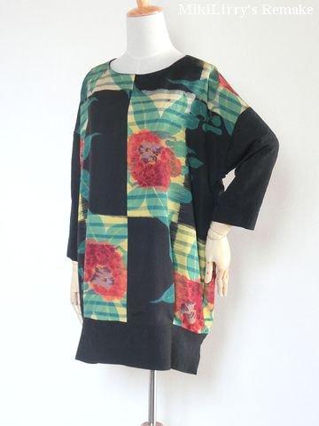 着物リメイク✿大きな花柄がはいった羽織と地紋の黒羽織をあわせたチュニック