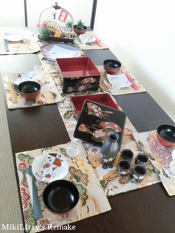 帯リメイク✿お正月に♪両面つかえる吉祥文様などのテーブルセンターとランチマット6枚のセット