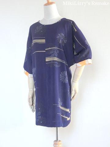 着物リメイク✿紺色に横線文様がはいった羽織からのチュニックワンピース