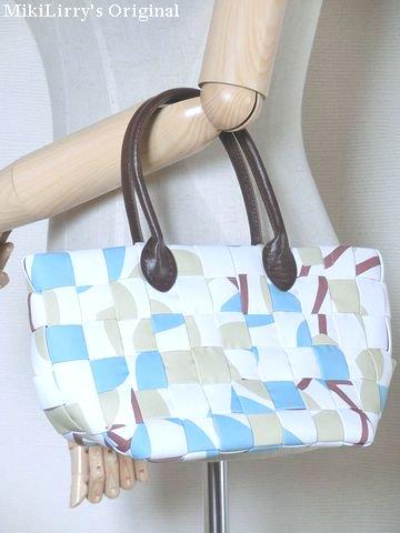 オリジナル✿白色とおおきな花柄の編み込みトートバッグ小