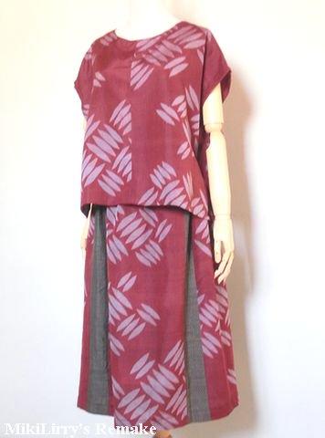 着物リメイク✿銘仙のエンジ色に檜垣模様がはいったブラウスとスカートのセットアップ