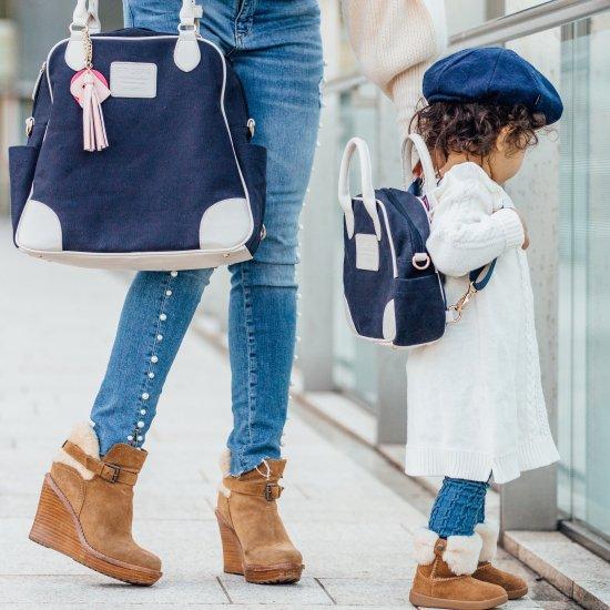 親子おそろいで使える2WAYちびバッグ/ネイビー