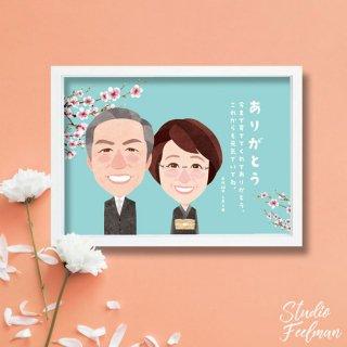 似顔絵サンクスボード_桜のメモリアル