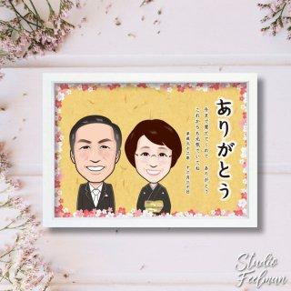 似顔絵サンクスボード_桜フレーム