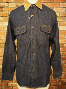 SUGAR CANE/シュガーケーン FICTION ROMANCE 8.5oz. BLUE DENIM WORK SHIRTS WITH MARBLE BUTTON SC28004