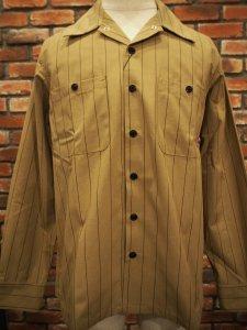 BLUCO ブルコ OL-109-020 ワークシャツ STD WORK SHIRTS L/S BEG/BRN ベージュ/ブラウンストライプ