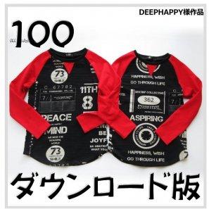 ◆ダウンロード版◆ラグランT・100サイズ・子供服・型紙