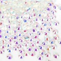 超高級 ガラス製 ラインストーン<BR>オーロラクリスタルアンホイル(透明底)<BR>SS4〜SS20サイズ選択可