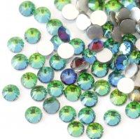 超高級 ガラス製 ラインストーン<BR>グリーンフレイム SS3〜SS30 サイズ選択可