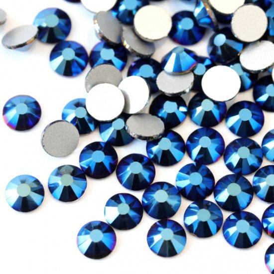 ガラス製 ラインストーン<BR>メタリックブルー SS3〜SS30サイズ選択可
