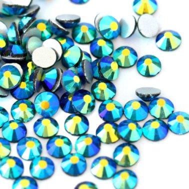 ガラス製 ラインストーン<BR>エメラルドAB SS3〜SS30サイズ選択可