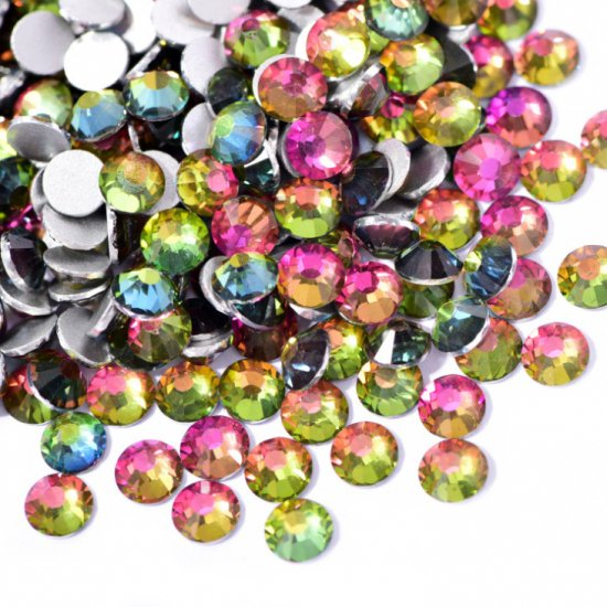 【納期4週間程度】卸専用ガラスラインストーン レインボー<br>SS3〜SS30サイズ選択可 約14400粒