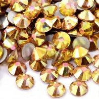 【納期4週間程度】卸専用ガラスラインストーン ライトゴールド<br>SS3〜SS30サイズ選択可 約14400粒