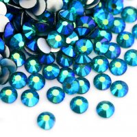 ガラス製 ラインストーン<BR>ブルージルコンAB SS3〜SS30サイズ選択可