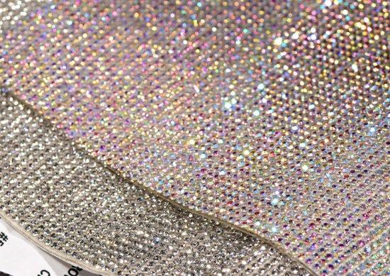 ガラス製ラインストーン シールタイプ<BR>クリスタル 24×20cm
