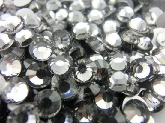 ガラス製 ラインストーン<BR>ブラックダイヤモンド SS3〜SS30サイズ選択可