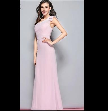 【生地代金込み】ブライズメイドドレス ワンショルダーリボンロングドレス