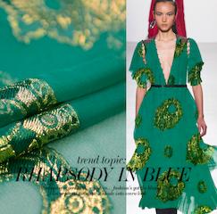 SK1135 鮮やかなグリーンに金の刺繍のシルクジョーゼット