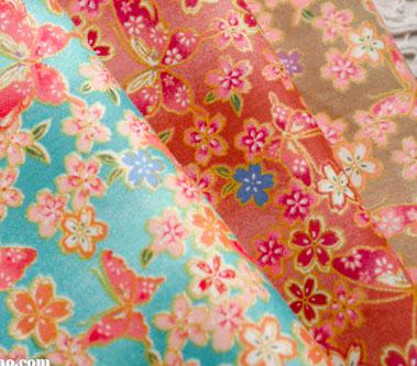 CT1035 桜と蝶の和柄コットン生地(3色)