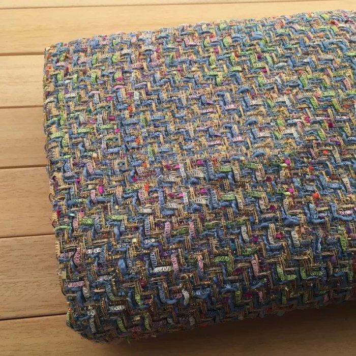 TW1185 ウール混金糸と多色使いのミックスツイード生地