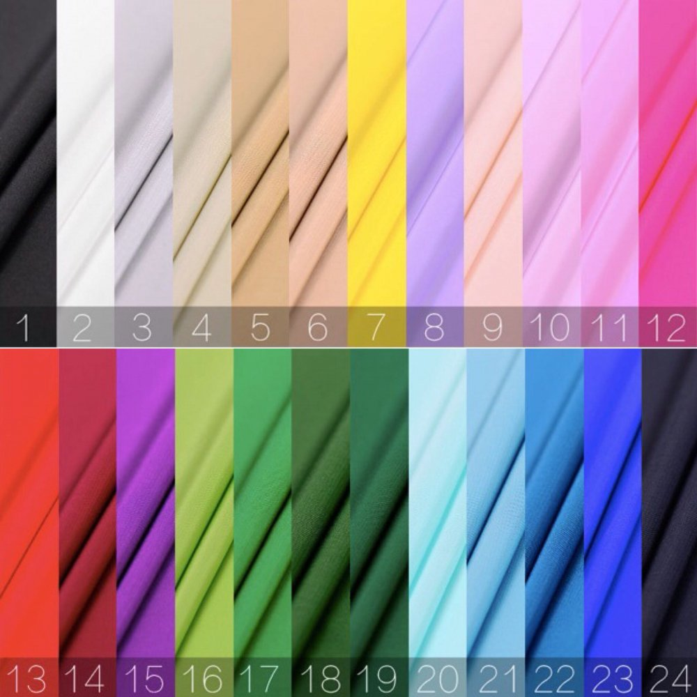 SK1181 無地厚手シルククレープ生地  23Momme(匁数)(24色)