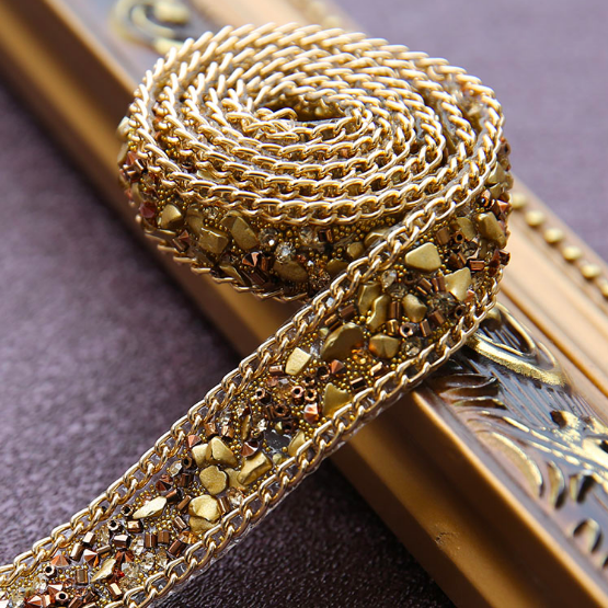 PP1008 ゴールドのラインストーンパイピング お洋服にアクセント - 幅2センチ