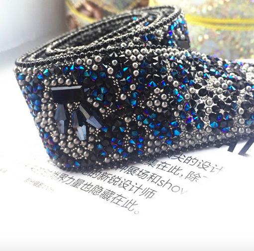 PP1015 濃いブルーのライトストーンのパイピング お洋服にアクセント - 幅3センチ