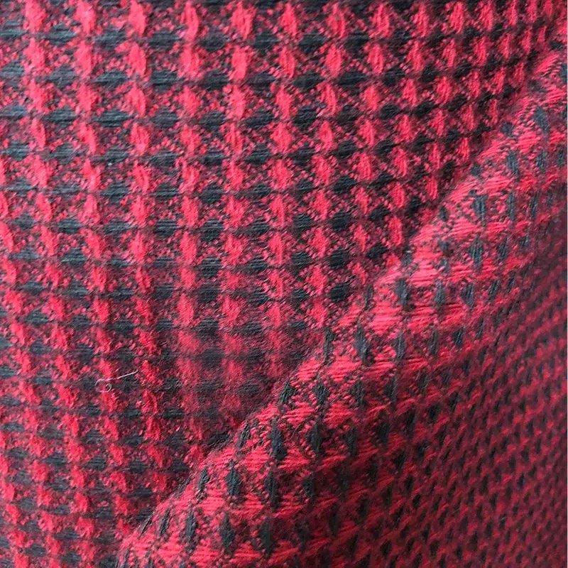 TW1301 赤と黒の格子柄ミックスツイード生地