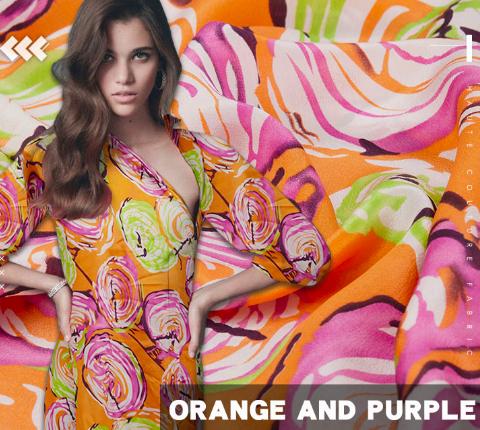 SK1213 オレンジの地色にパープルとグリーンの大きめ花柄模様のシルク生地