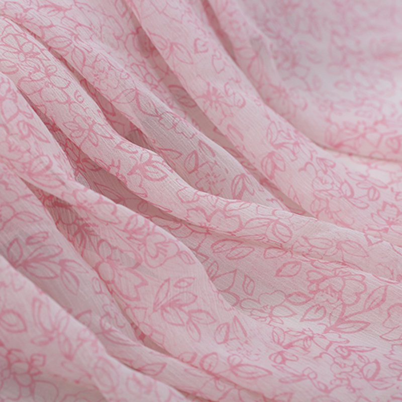 SK1047 ロマンチックな薄ピンク花柄シルクシフォン