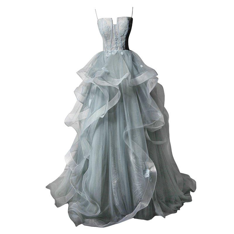 SO1029 セミオーダー 背中の編み上げリボンが美しいシルバーミントカラードレス
